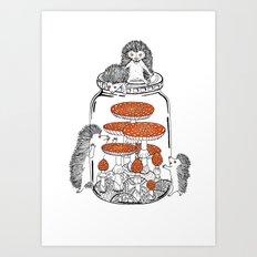 Hedgehog Amanita Mushroom Art Print