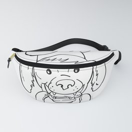 Chef Dog Biting Sausage String Cartoon Black and White Fanny Pack