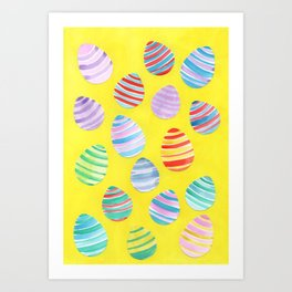 Easter Egg Watercolor Pattern -  Yellow Art Print