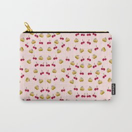 cherries and plums on a pink background Carry-All Pouch