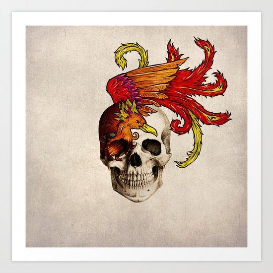Skull and Phoenix Art Print