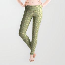 Green Avocado Floral Pattern Leggings