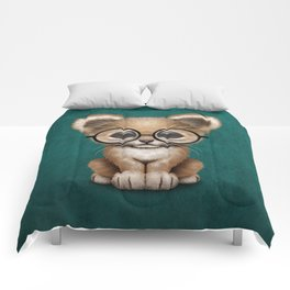 Cute Baby Lion Cub Wearing Glasses on Blue Comforters