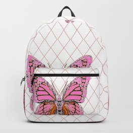 ABSTRACTED  PINK  BUTTERFLY MONARCHS  & WHITE PATTERN Backpack