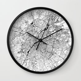 Brussels White Map Wall Clock