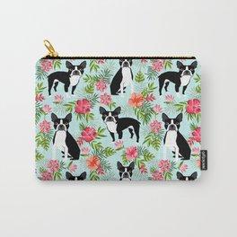 Boston Terrier florals tropical hawaiian print dog breeds custom dog art pet portraits Carry-All Pouch