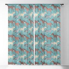 Horse pattern in aquamarine blue Sheer Curtain