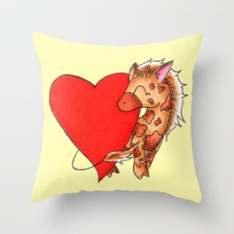 Heart Giraffe Throw Pillow