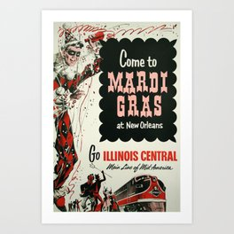 New Orleans Mardi Gras Travel Poster Art Print