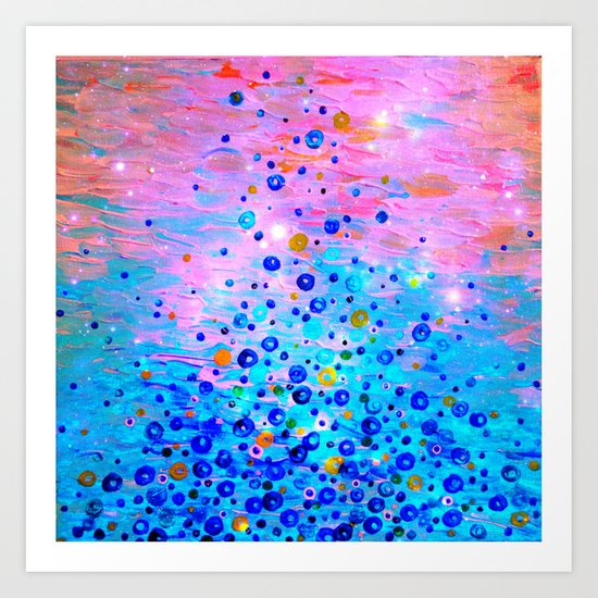 WHAT GOES UP, REVISITED - Bold Royal Blue Pink Bubbles Whimsical Underwater Ocean Abstract Painting Art Print