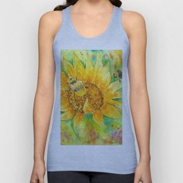 Bumblebees on a Sunflower Unisex Tank Top