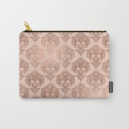 Rose Gold Damask Carry-All Pouch