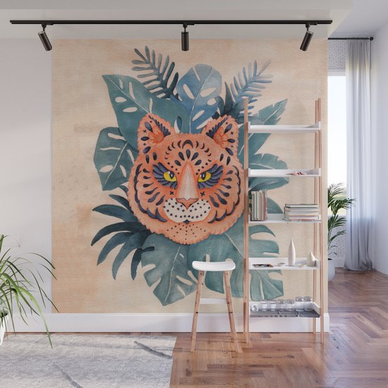 Tiger Mandala In The Jungle Watercolor by paperondesign