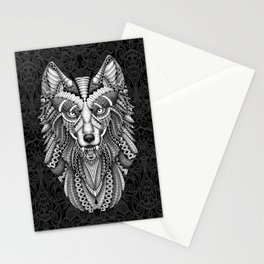 White Wolf Aztec Pattern Stationery Cards