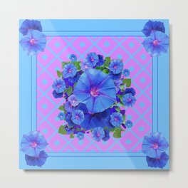 Baby Blue-Lilac Pattern Morning Glories Art Metal Print