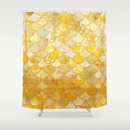 Sunny Gold Colorful Watercolor Trendy Glitter Mermaid Scales Shower Curtain