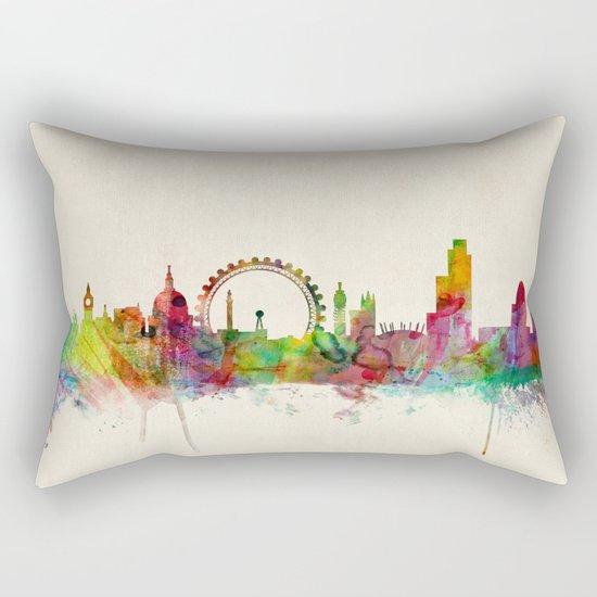 London Skyline Watercolor Rectangular Pillow
