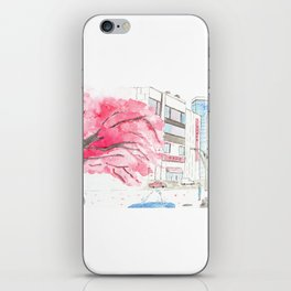 Tokyo Cherry Blossoms Watercolor Sketch - Ueno Park iPhone Skin