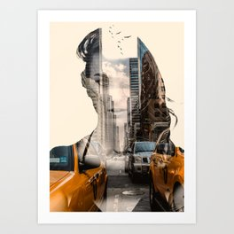 Yellow Cabs - Double Exposure Poster Art Print