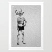 antler Art Prints featuring . antler . by Andrew Brooke