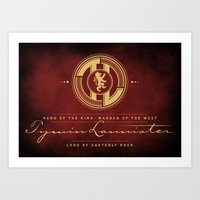 lannister Art Prints featuring Tywin Lannister Monogram Logo by P3RF3KT