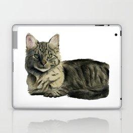 Domestic Medium Hair Cat Watercolor Painting Laptop & iPad Skin
