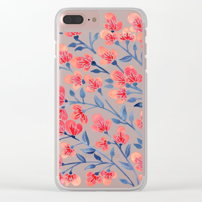 Cherry Blossoms – Melon & Navy Palette Clear iPhone Case