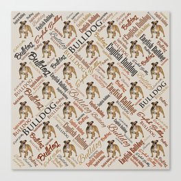 English Bulldog Word Art Canvas Print