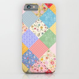 Happy Cottage Diamond Patchwork Quilt iPhone Case