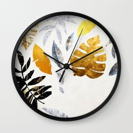 Marble, Gold Textured Leaves Wall Clock