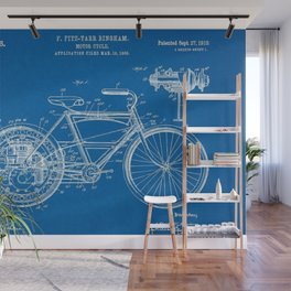 1910 F. Fitz-Tarr Bingham Motorcycle Patent Blueprint Wall Mural