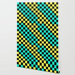 Black, Aqua, & Yellow Checkerboard Pattern Wallpaper