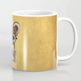 Cute Cougar Cub Wearing Reading Glasses on Yellow Coffee Mug