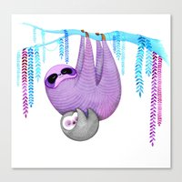 sloths Canvas Prints featuring Sloths by Annya Kai