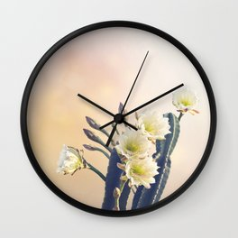 San Pedro Cactus with Beautiful White Flowers Wall Clock