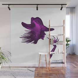 DIVA WITH HAT and Lipstick - PAINTED - Gorgeous VIOLET Wall Mural