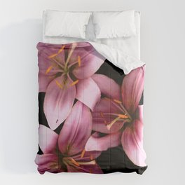 Pretty Pink Ant Lilies, Flowers Scanography Comforters