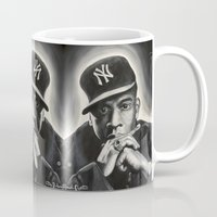 jay z Mugs featuring Jay-Z by Sarah Painter