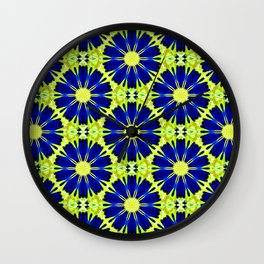 Blue Green vector abstract floral background Wall Clock