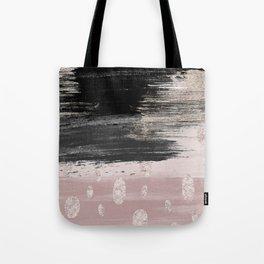 Abstract blush pink black gray gold glitter brushstrokes Tote Bag