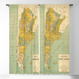 Vintage Map of Argentina (1910) Blackout Curtain