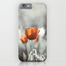 Orange Grey Tulip Photography, Burnt Orange Tulip Flowers Photo iPhone 6s Slim Case