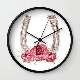 Derby Horseshoe, Roses, Kentucky, Races Wall Clock