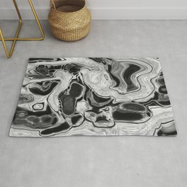 Black and White Digital Fluid Art Swirls and Cells Rug