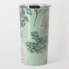 Rose Pattern Cream + Mint Green Travel Mug