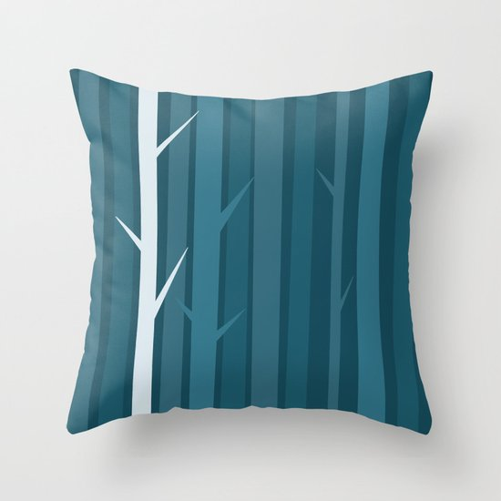 Blue Wood Throw Pillow