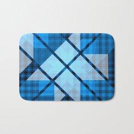 Abstract Geometric Blue Plaid Design Bath Mat