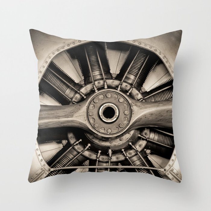 Aviation Decor Vintage Propeller Airplane Art Throw Pillow By Vibrantimaging