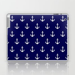 Maritime Nautical Blue and White Anchor Pattern Laptop & iPad Skin