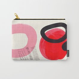 Vintage Abstract Mid Century Modern Playful Pink Red Candy Colors Organic Shapes Carry-All Pouch